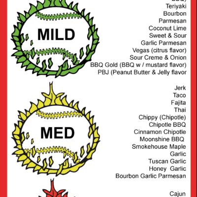 Winners Circle Sportsbar Menu - Wing Sauces